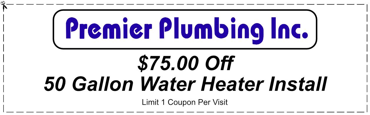 Premier Plumbing Water Heater Replacement Coupon