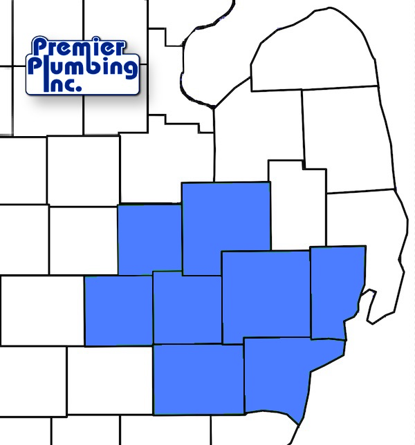 map of premier plumber's service area in michigan