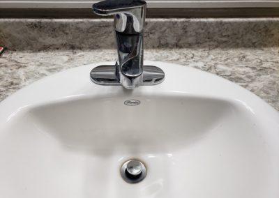 Bathroom sink looking down