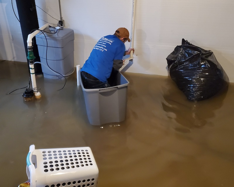 flooded basement from sump pump failure