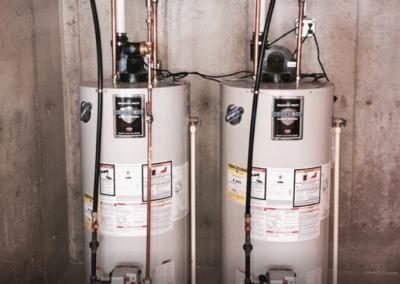 double hot water heaters side by side